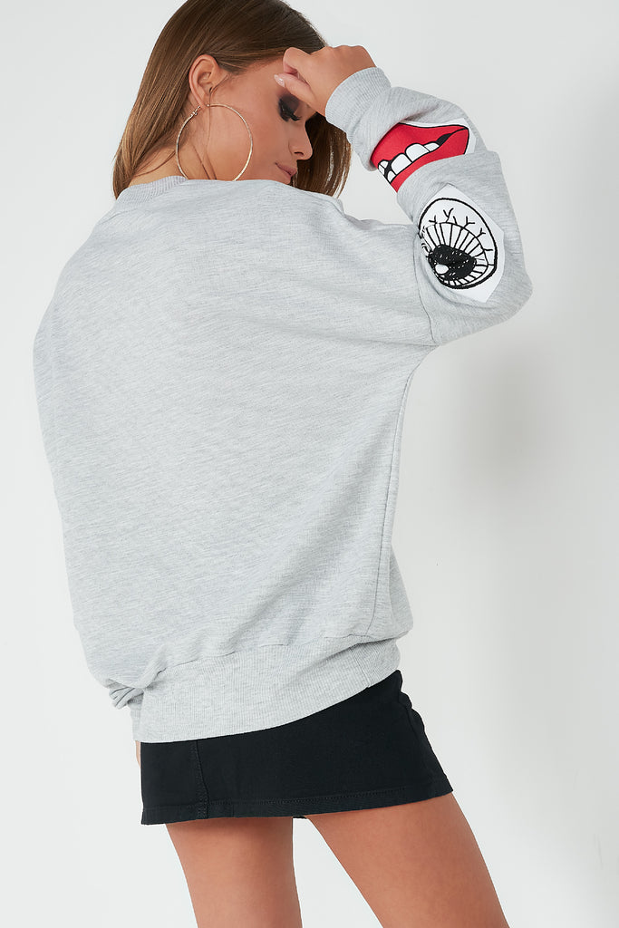 Farida Grey Printed Face Sweatshirt