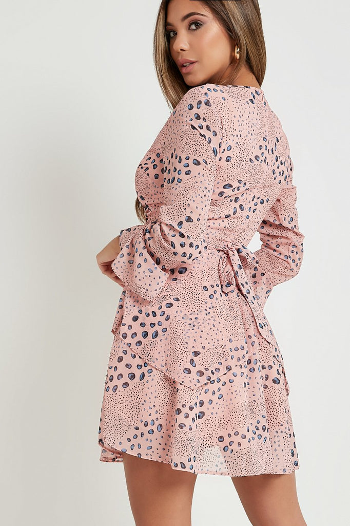 Farrah Pink Spotted Frill Dress