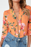 Fay Orange Floral Plunge Bodysuit