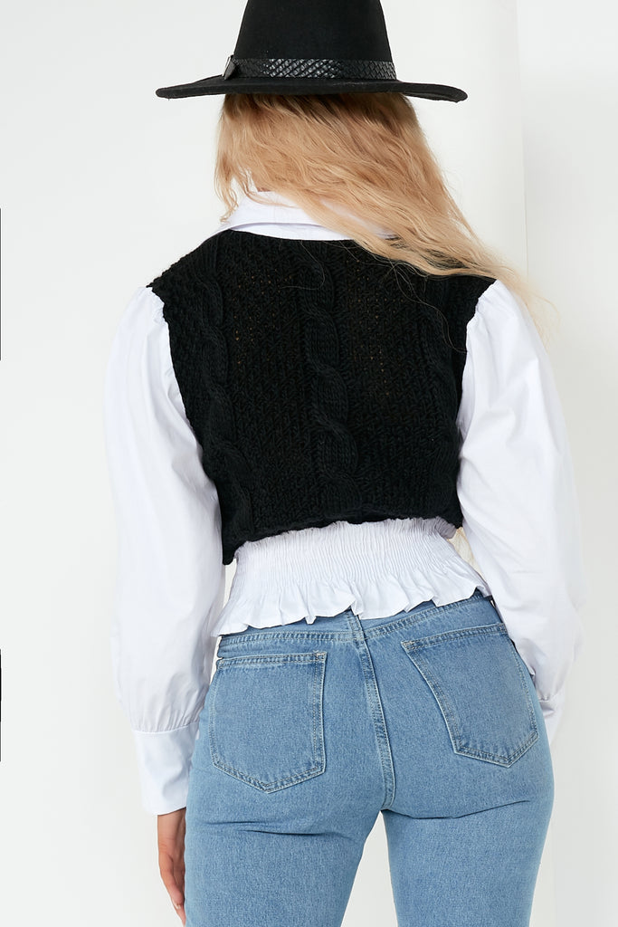 Faye Black Knit Shirt Top