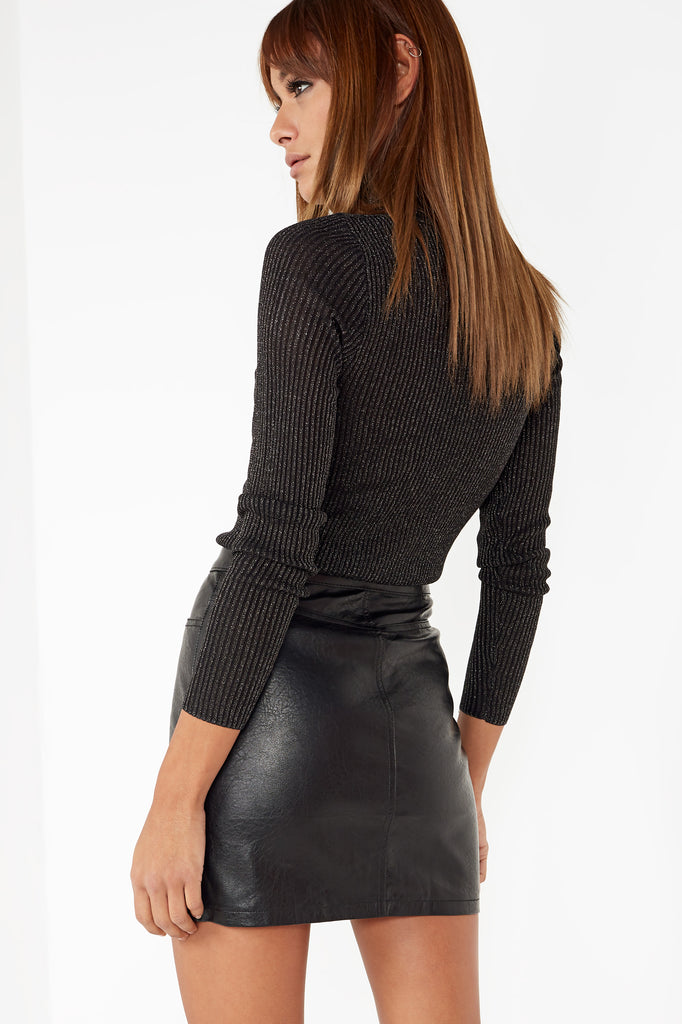 Feather Black Shimmer Polo Neck Jumper