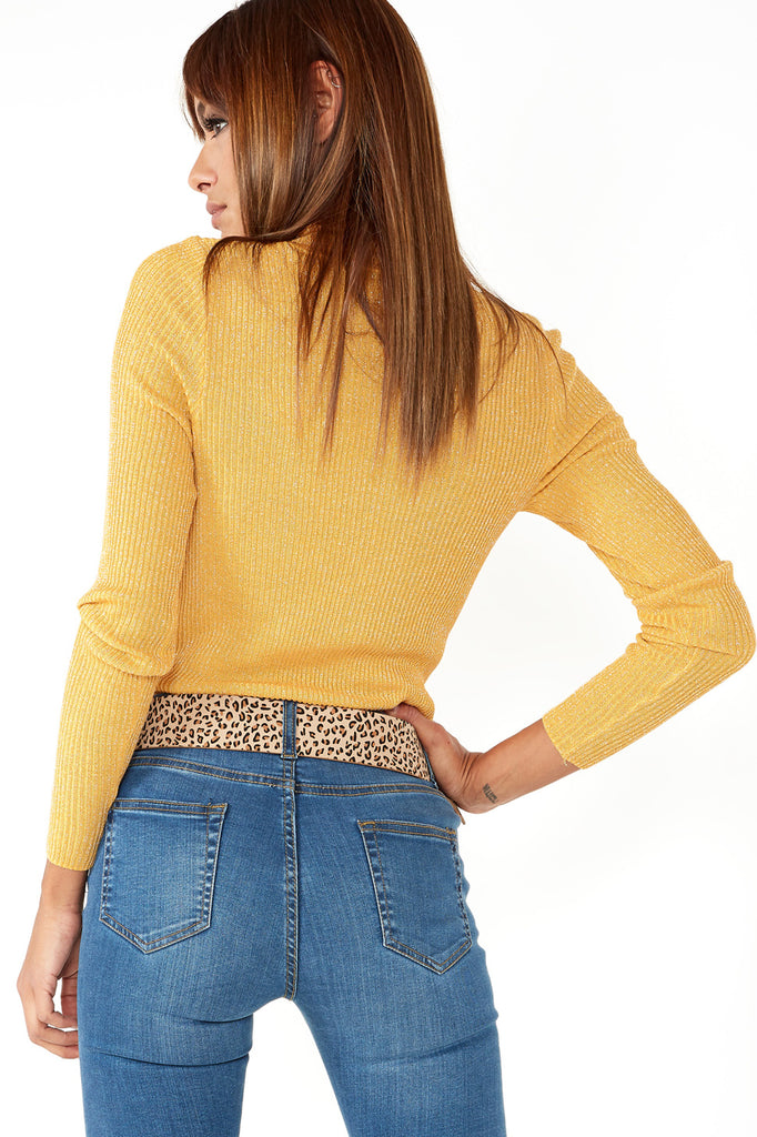 Feather Mustard Shimmer Polo Neck Jumper