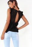 Fedelma Black Lace Front Peplum Top (1297924423788)