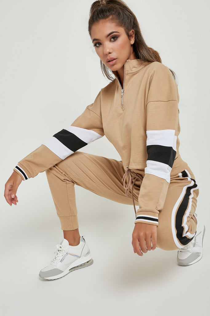 Federina Stone Side Stripe Jogger Co Ord