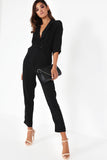 Felice Black Wrap Front Jumpsuit