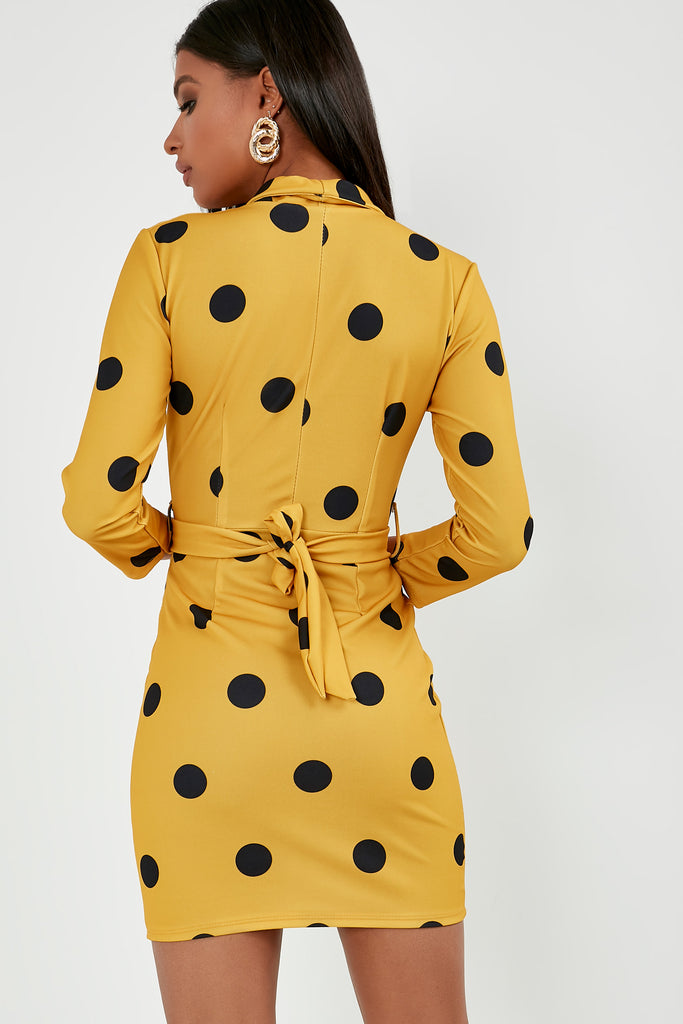 Felicity Mustard Polka Dot Wrap Front Dress