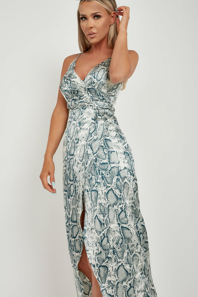 Felix Mint Snake Print Wrap Maxi Dress