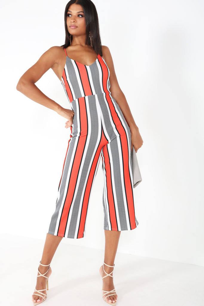 Fergie Red Striped Cut Out Back Jumpsuit