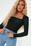 Fifi Black Scoop Neck Ribbed Top