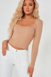 Fifi Camel Scoop Neck Ribbed Top