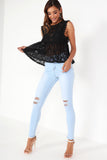 Fela Black Sheer Lace Peplum Top