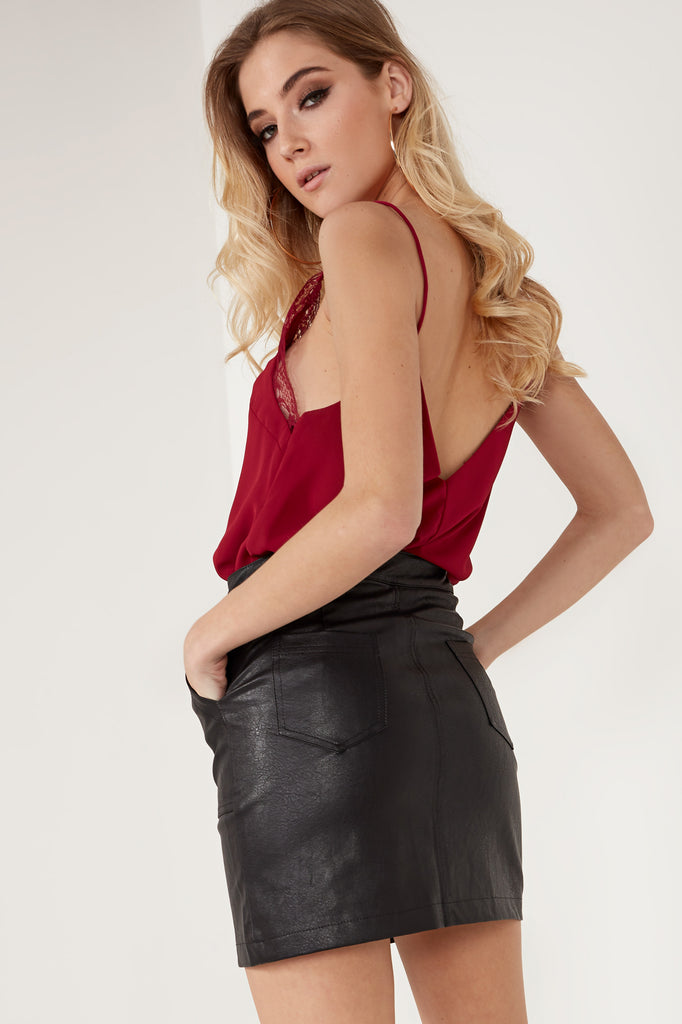 Finley Black Leatherette Button Skirt (1632173752386)