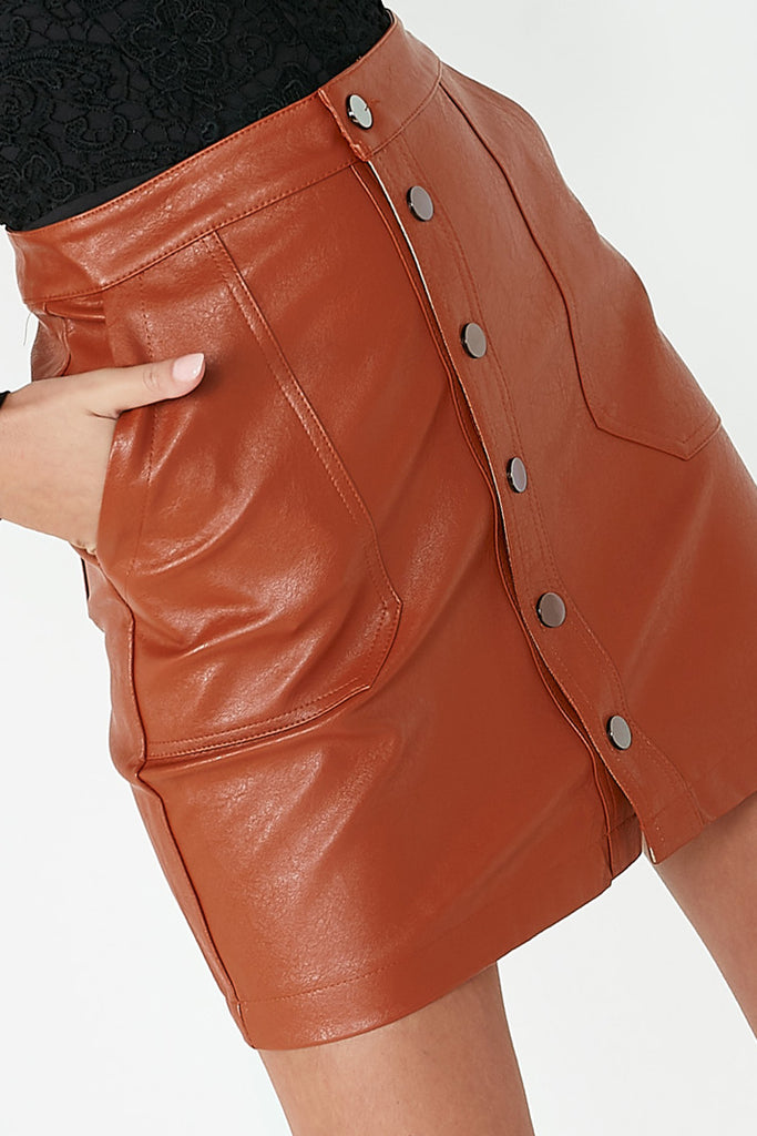 Finley Rust Leatherette Button Skirt