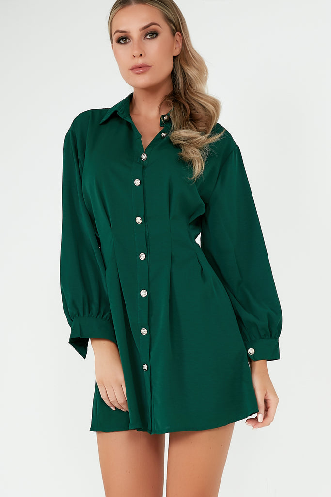Fiona Green Pleated Waist Detail Shirt Dress