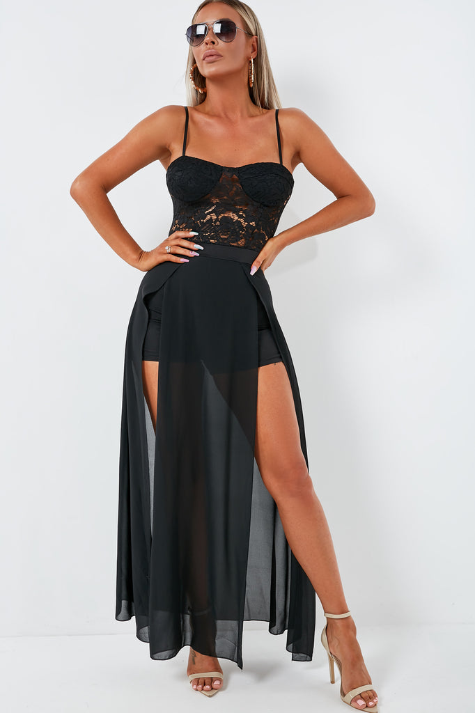 low cost super cheap compares to clearance Fizz Black Lace Bustier Maxi Dress