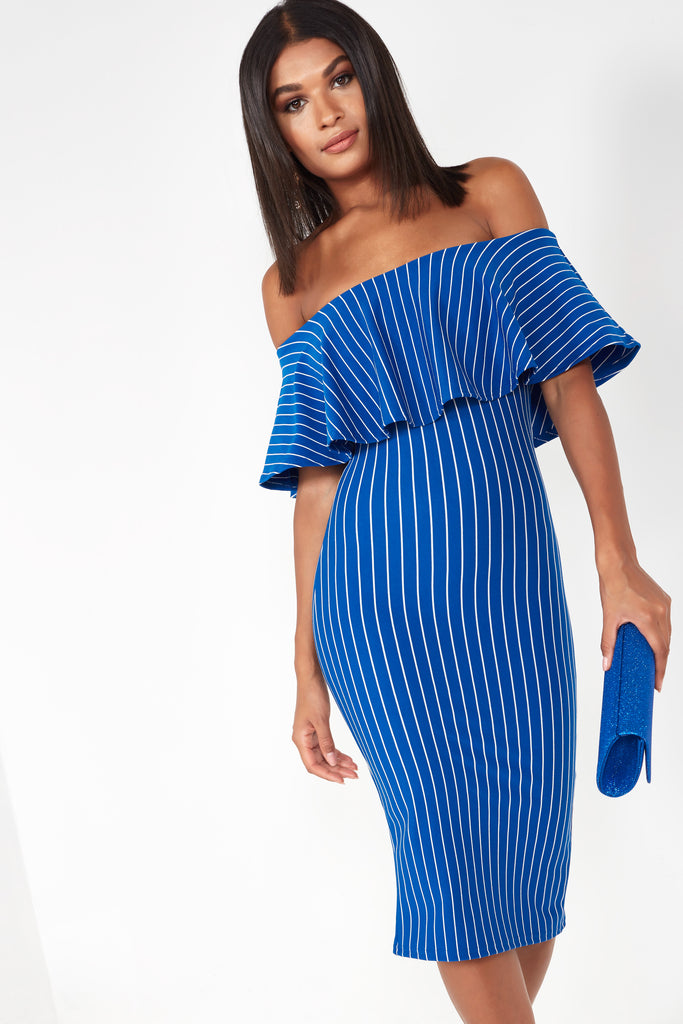Fizz Blue Striped Frill Bardot Dress