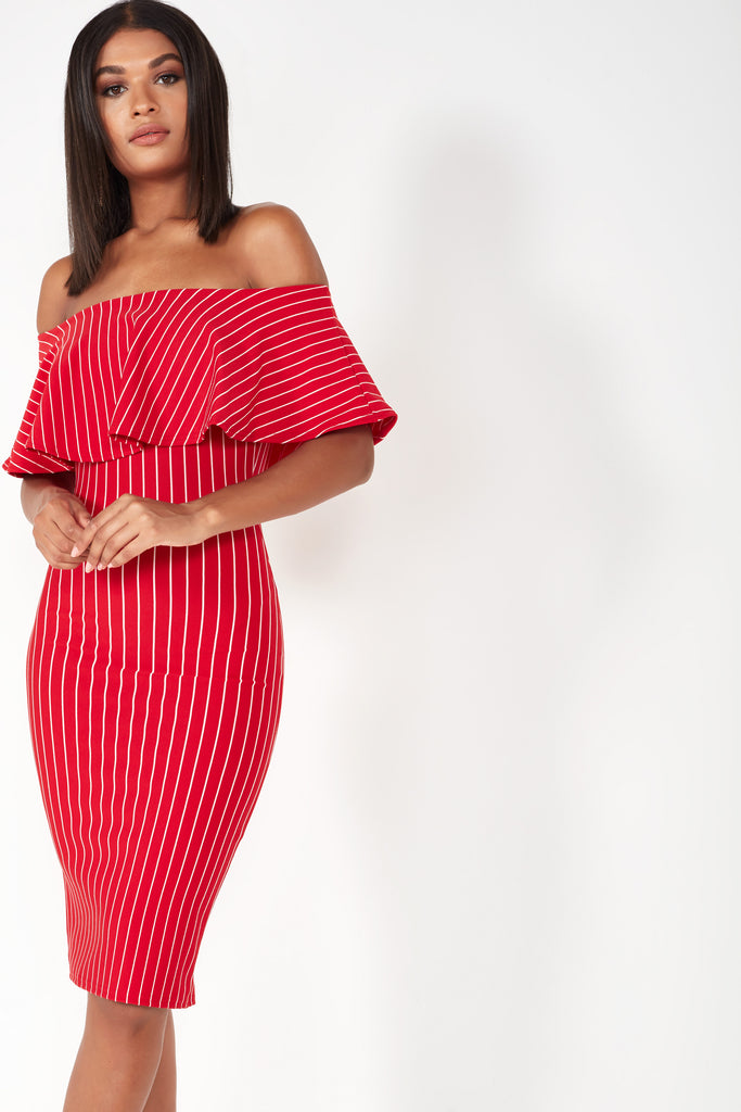 Fizz Red Striped Frill Bardot Dress