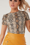 Flamina Snake Print Fitted T Shirt