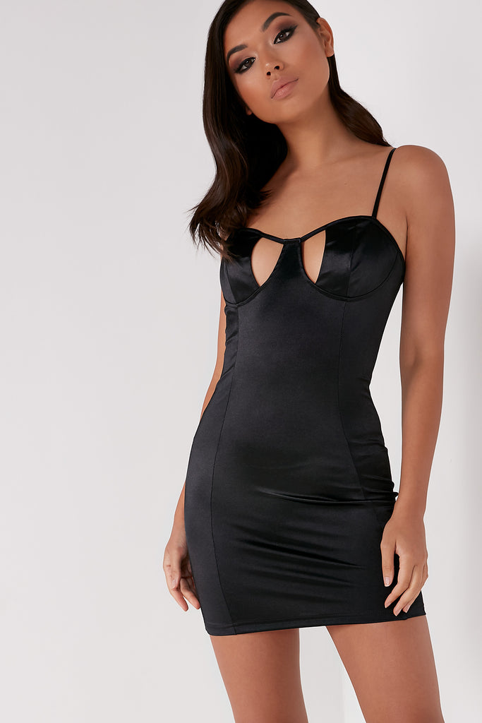 Flavia Black Bustier Bodycon Dress