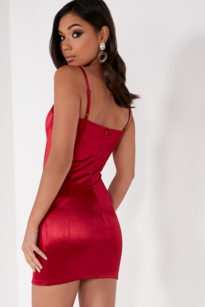 Flavia Wine Bustier Bodycon Dress