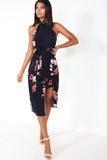 Floella Navy Floral Racer Midi Dress