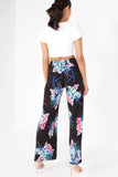Flora Black Floral Wide Leg Trousers