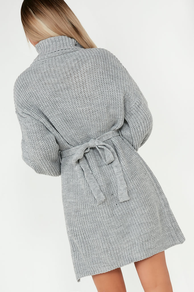 Flora Grey Knit Belted Roll Neck Dress