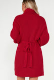 Flora Red Knit Belted Roll Neck Dress