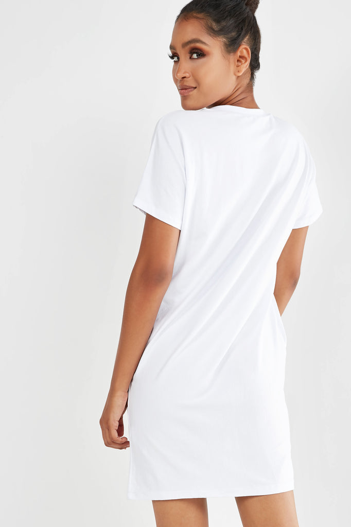 Florence White Graphic T-Shirt Dress (1982943723586)