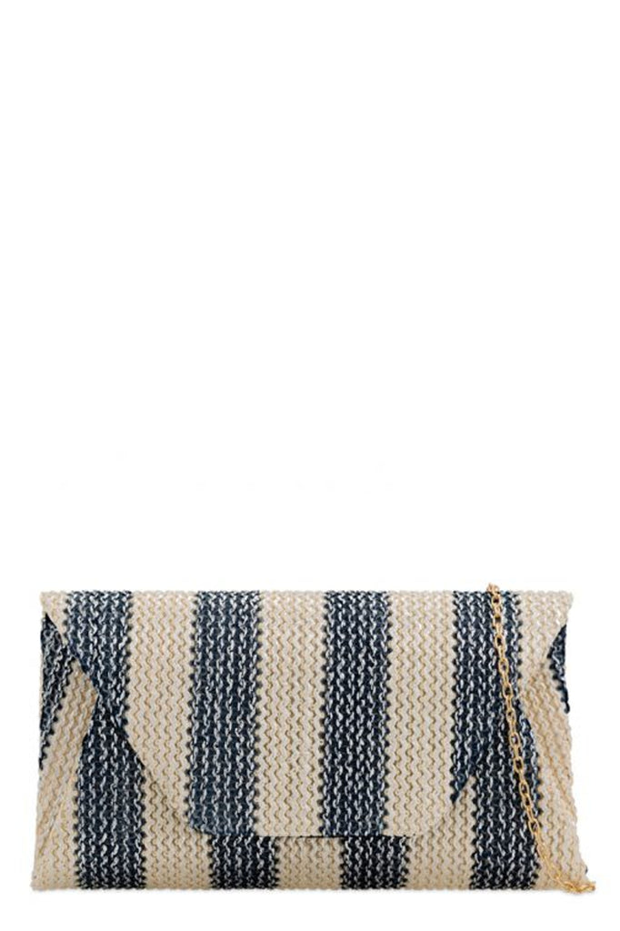 Flossie Navy Striped Ribbed Bag