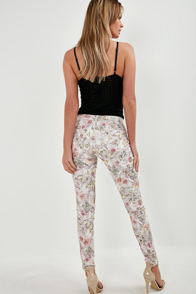 Flossie Pink Butterfly Skinny Jeans