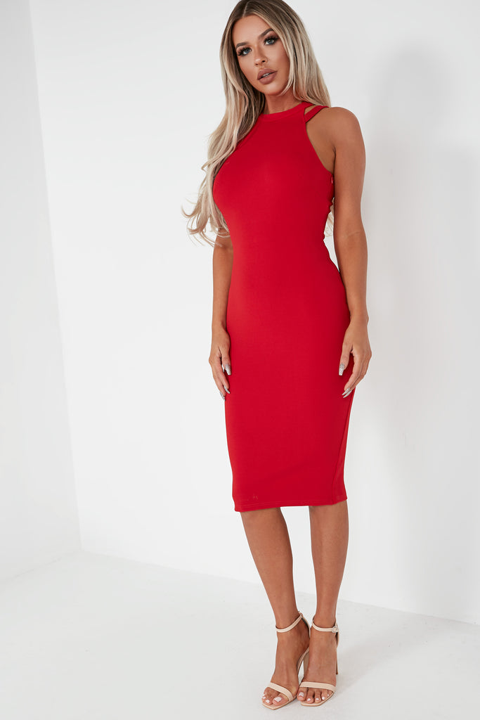 Flynn Red Double Strap Midi Dress