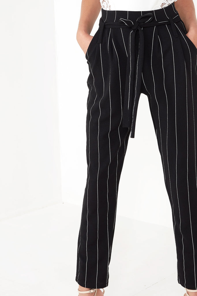 Fradella Black Pinstripe Trousers