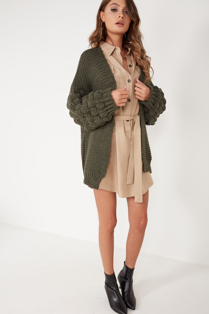Franca Green Chunky Knit Cardigan