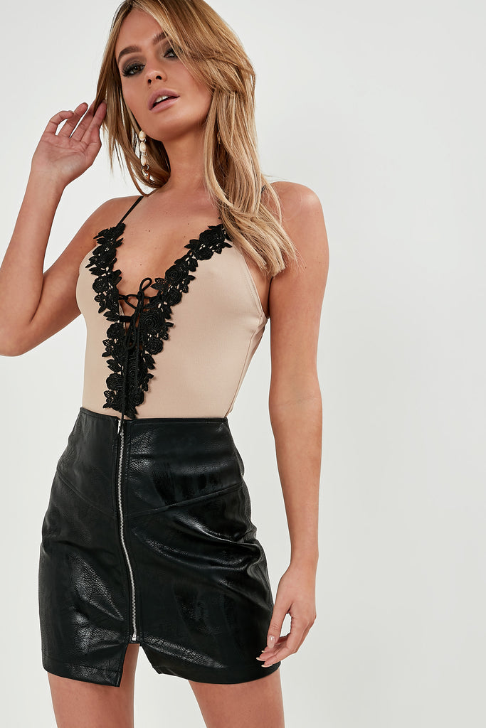 Frances Stone Lace Up Front Bodysuit