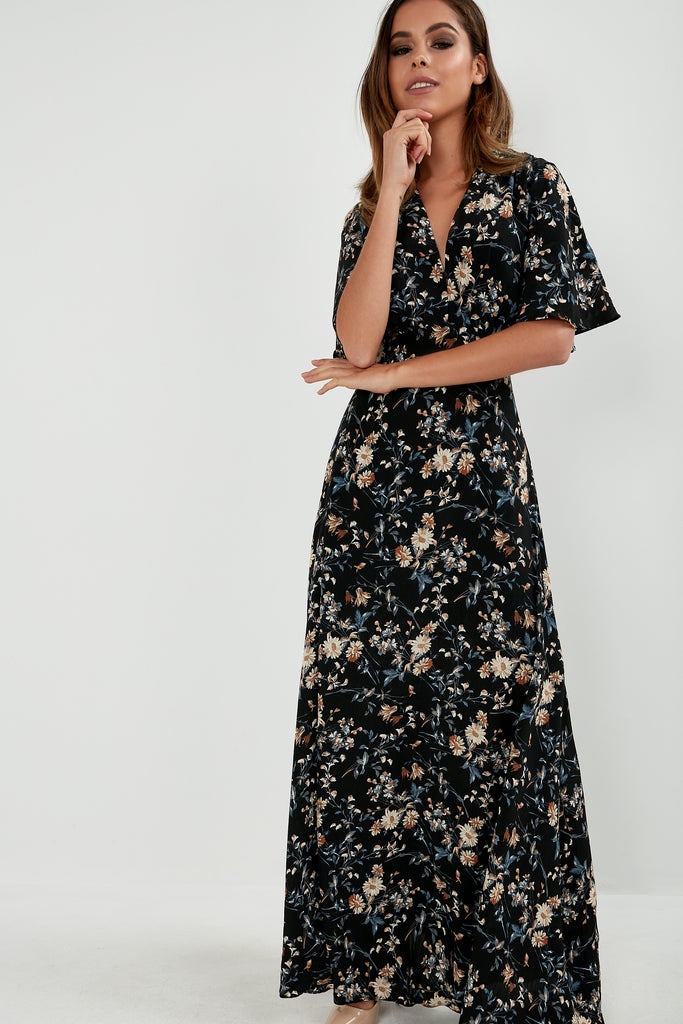 Francesca Black Floral V Neck Maxi Dress