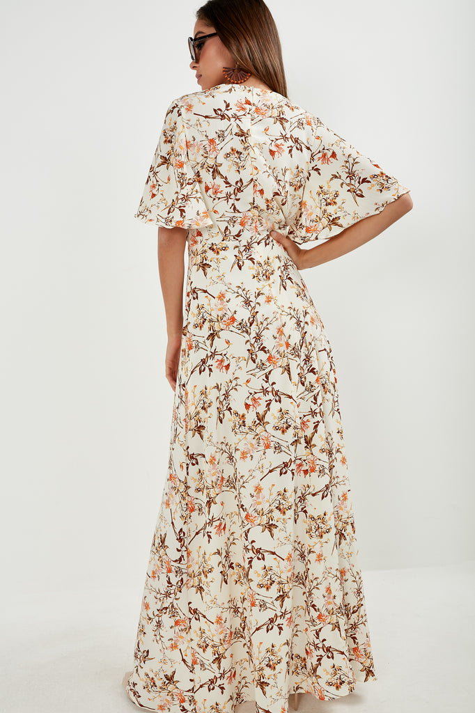 Francesca Cream Floral V Neck Maxi Dress