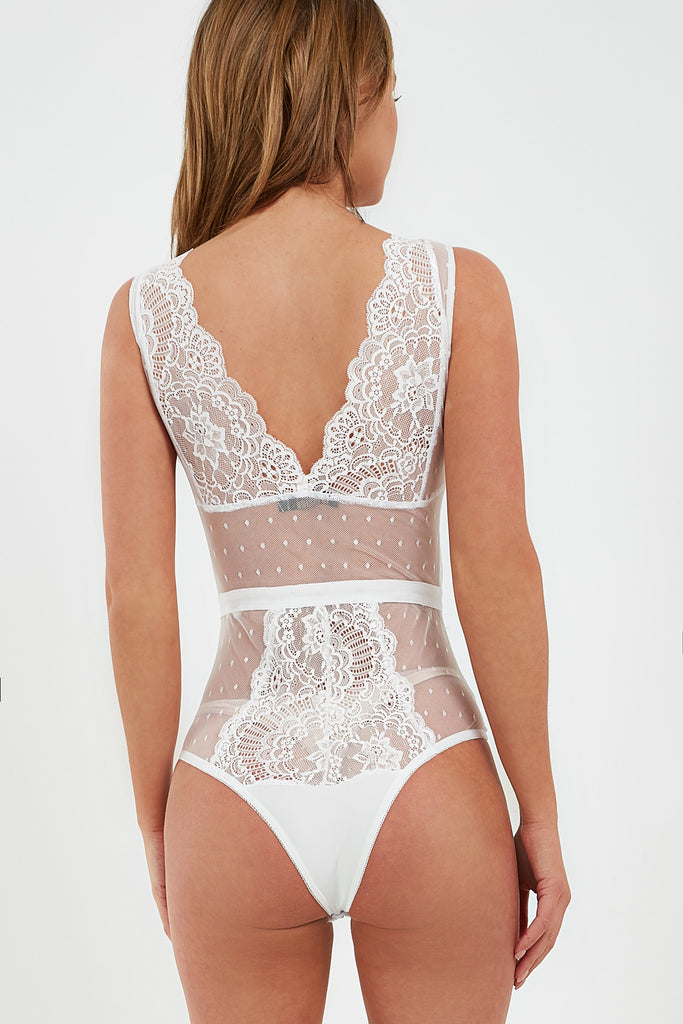 Francie White Lace and Mesh Bodysuit