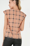 Francis Camel Check Pleated Neck Shoulder Pad Top