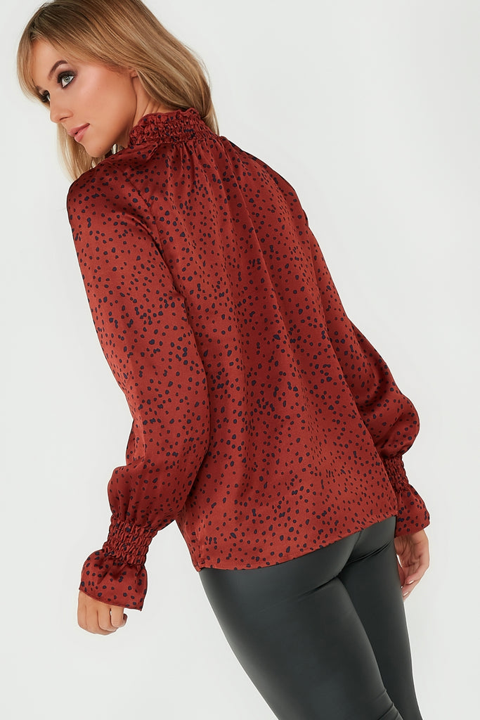 Francy Rust Polka Dot Highneck Top