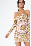 Frankie Pink Printed Bardot Dress