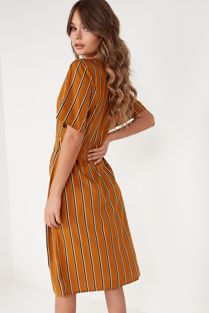 Franny Mustard Striped Button Midi Dress