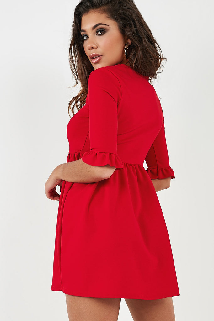 Freja Red Smock Dress (4354585133122)