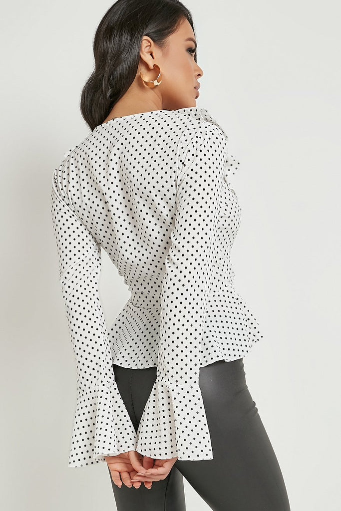 Frenchie White Polka Dot Frill Wrap Top