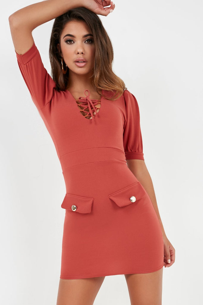 Frenchy Rust Tie Front Mini Dress (2032529014850)