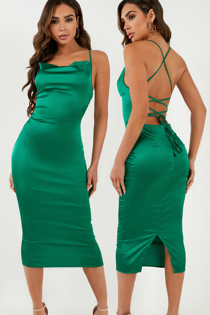 Frikka Green Satin Midi Dress