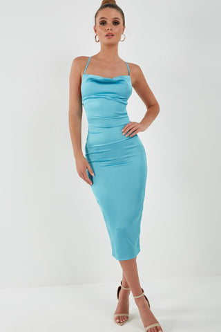 Frikka Light Blue Satin Midi Dress