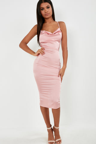 817bb901c00 Frikka Light Pink Satin Midi Dress