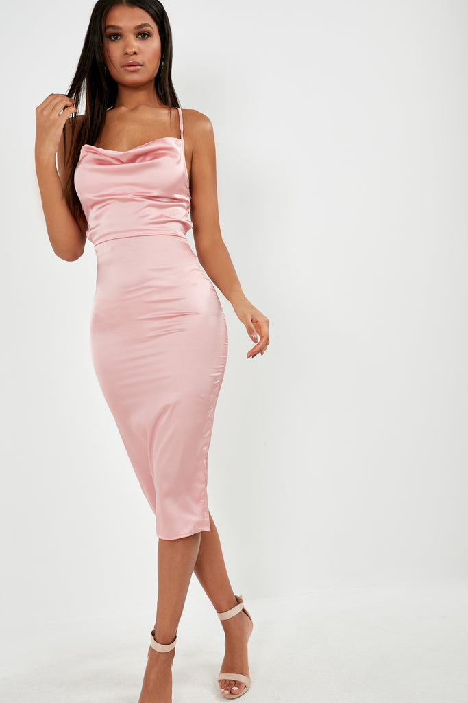 Frikka Light Pink Satin Midi Dress (1810846154818)
