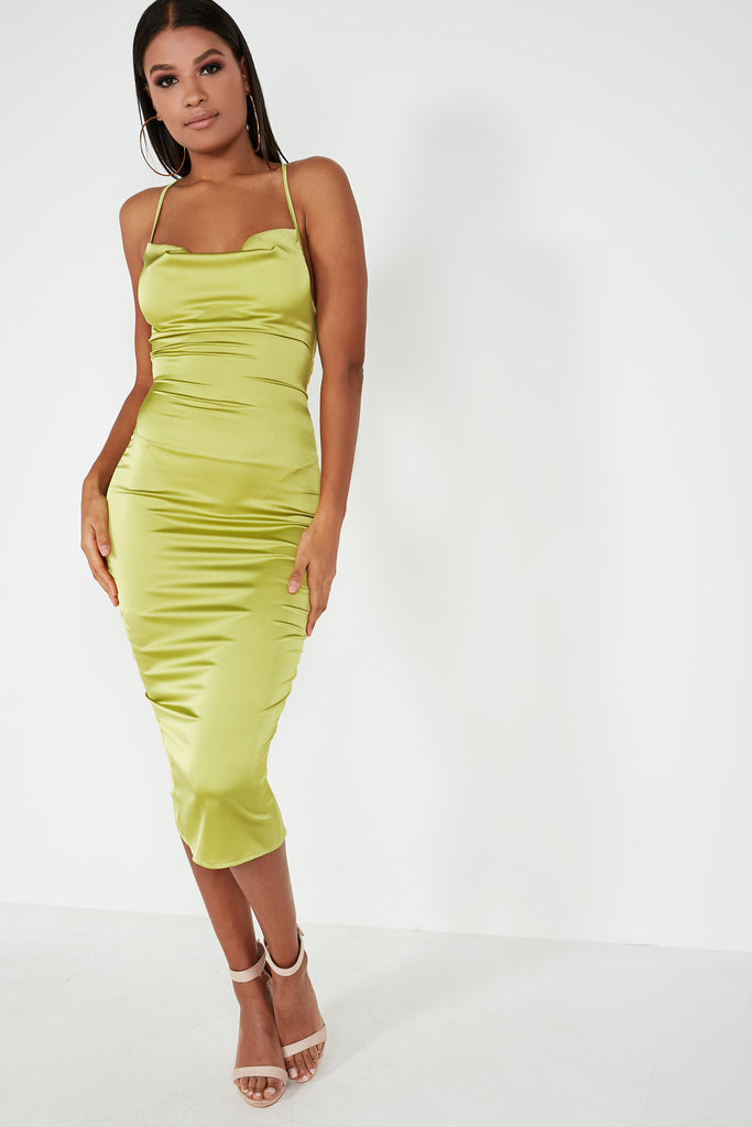 Frikka Lime Satin Midi Dress